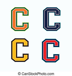 C college letter in 4 colors