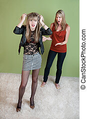 Ashamed Mother - Unhappy mom with daughter in provocative...