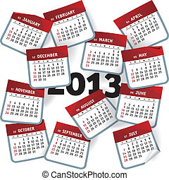 2013 Calendar - 2013 calendar template represented as months...