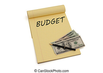 Budgeting your money - Blank yellow lined notepad with...
