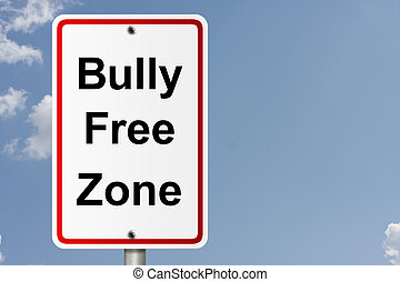 Bully Free Zone - An American road sign with sky background...