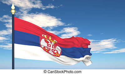 Flag Of Serbia on the background of the sky and flying...