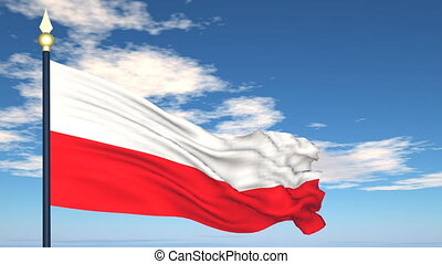 Flag Of Poland on the background of the sky and flying...