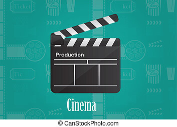 cinema board - cineme wood board over aqumarine background...