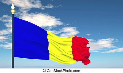 Flag Of Romania on the background of the sky and flying...