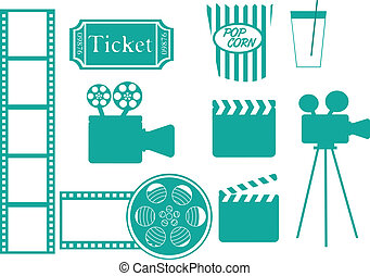 cinema icons - green cinema icons isolated over white...