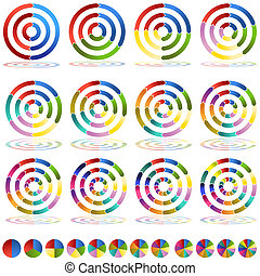 Arrow Wheel Chart Target Icon Set - An image of two through...