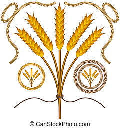 Roped Wheat Set - An image of roped wheat bushel with rope...