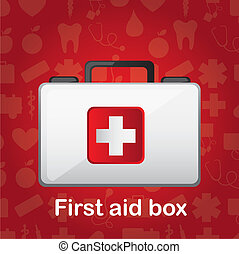 first aid box over red medical background vector...