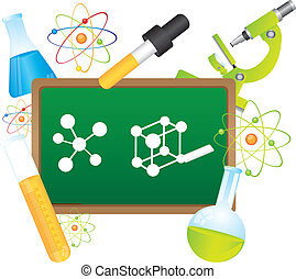 science vector - green chalkboard, with science elements...