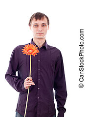Single man with flower - Single man holding flower, isolated...
