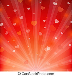 Backgrounds With Beams And Hearts, Vector Illustration