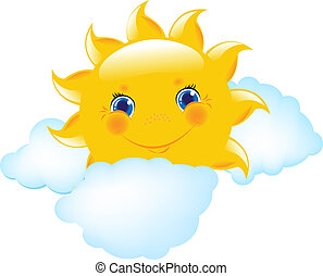 Cartoon Sun And Blue Cloud - Cartoon Sun And Cloud, Vector...