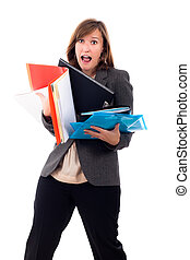 Stressed busy business woman hurry - Portrait of stressed...