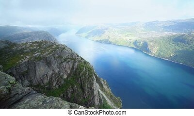 Preikestolen mountain - Norway fjord panorama from...