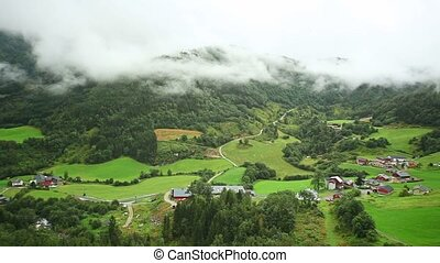 Norway valley - Norway mountain valley panorama.