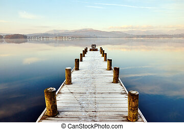 Jetty At Windermere, English Lake District, Cumbria,...