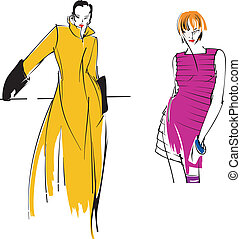 Two Yellow Purple Fashion Girl. Drawing.