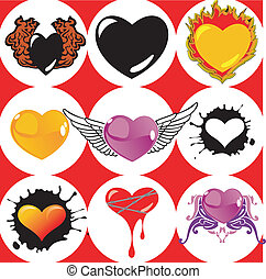 Nine Brand New Hearts, Wings and Fire. Vector Illustration.