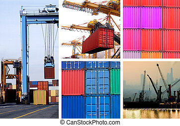 cargo - collage of industrial cranes for cargo containers in...