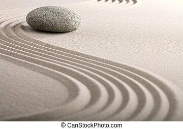 zen, sable, pierre, jardin