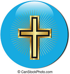 golden cross icon - 3d golden cross icon.Vector