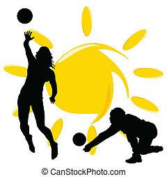 volleyball two girl silhouette illustration on white with...