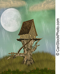 Tree House in a fantasy landscape with flowers