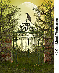 gateway - fantasy landscape with gateway and old raven