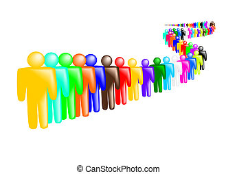 Queue of people - Illustration of many people in queue...