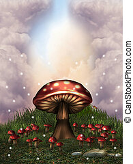mushrooms - fantasy landscape with mushrooms and glow...