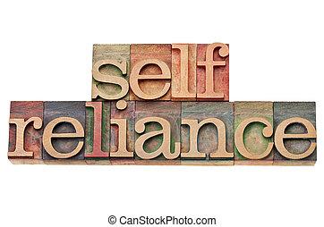 selfreliance word in letterpress type - selfreliance -...