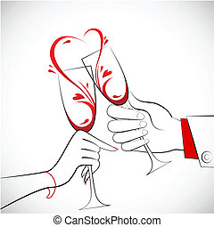 Couple holding Glass of Wine - illustration of couple...