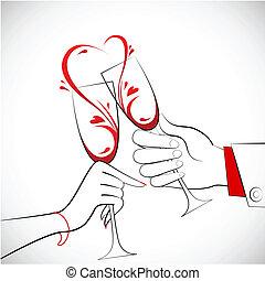 pareja, tenencia, vidrio, vino