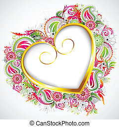 Floral Heart Frame - illustration of heart formed by...