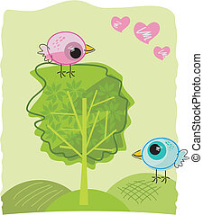 Dating Birdies - Two birdies on a beatiful day