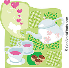 Kettle and muffins - Tea time on Valentine's Day