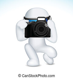 3d Man in Vector with Camera