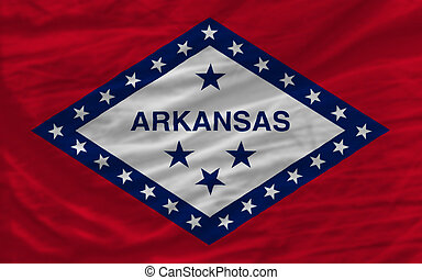 complete flag of us state of arkansas covers whole frame, waved, crunched and very natural looking. It is perfect for background