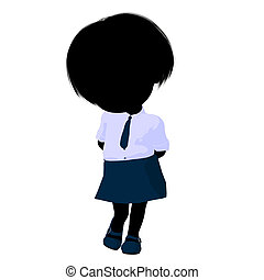 Little School Girl Illustration Silhouette - Little school...