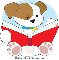 Cute Puppy Reading - A cute puppy wearing it's blue collar...