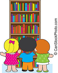 Bookcase Kids - Three young school children are picking out...