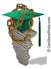 Student Loan Debt. - Chain down by student loans.