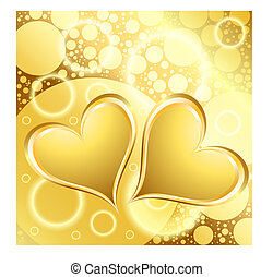 Gold Heart Shiny Holiday Background