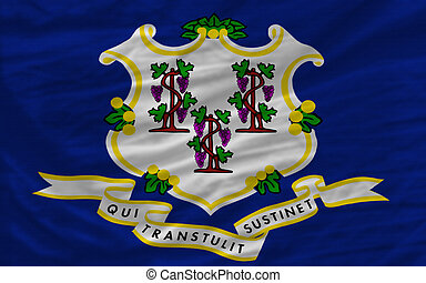 complete flag of us state of connecticut covers whole frame, waved, crunched and very natural looking. It is perfect for background