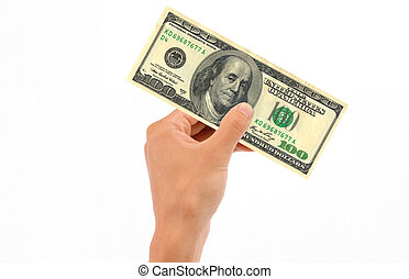 Hand Holding 100 Dollar Bill - Hand holding 100 US Dollar...