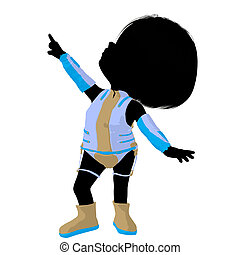 Little Sci Fi Girl Illustration Silhouette - Little sci fi...