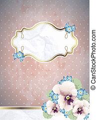 Romantic vintage banner w/ flowers - Pink romantic floral...