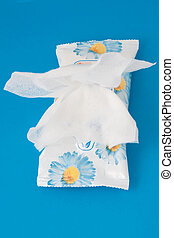 wet wipes - Antibacterial wet wipes on a blue background