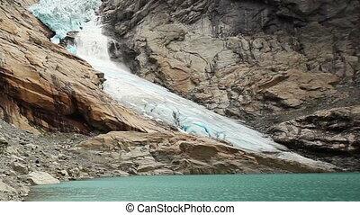 Briksdalsbreen snowslide - Briksdal glacier snowslide. Watch...